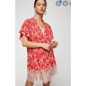 FREE PEOPLE red marigold dress with lace